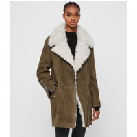 AllSaints Women's Dyed Sheepskin Relaxed Fit Zeta Shearling Coat, Brown, Size: S