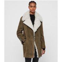 AllSaints Women's Dyed Sheepskin Relaxed Fit Zeta Shearling Coat, Brown, Size: M