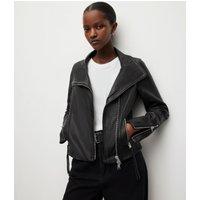 AllSaints Women's Lamb Leather Slim Fit Ellis Biker Jacket, Black, Size: 4