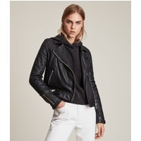 AllSaints Women's Leather Traditional Conroy Biker Jacket, Black, Size: 14