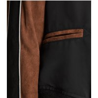 AllSaints Women's Suede Regular Fit Atley Bomber Jacket, Black and Brown, Size: S