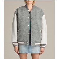 AllSaints Women's Wool Base Bomber Jacket, Grey, Size: S