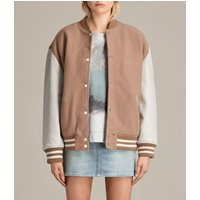 AllSaints Women's Cotton Stripe Classic Base Bomber Jacket, Brown and Grey, Size: M