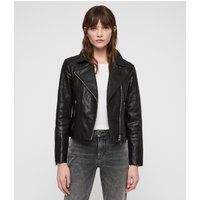 AllSaints Women's Leather Slim Fit Pataya Biker Jacket, Black, Size: UK 4