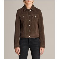 AllSaints Women's Cow Leather Trucker Suede Jacket, Brown, Size: 4