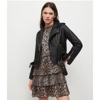 AllSaints Women's Leather Regular Fit Slim Balfern Biker Jacket, Black, Size: 6