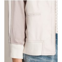 AllSaints Women's Slim Fit Varley Leather Bomber Jacket, White and Pink, Size: S