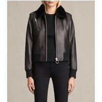 AllSaints Carpen Leather Bomber Jacket