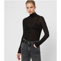 AllSaints Women's Stripe Esme Shimmer Roll Neck Top, Black, Size: L