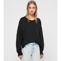 AllSaints Women's Cotton Relaxed Fit Piro Shimmer Sweatshirt, Brown and Black, Size: S