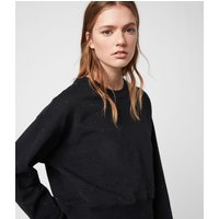 AllSaints Women's Cotton Regular Fit Helene Sparkle Sweatshirt, Black, Size: M