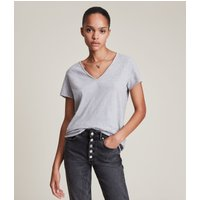 AllSaints Women's Cotton Regular Fit Emelyn Tonic T-Shirt, Grey, Size: S