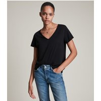 AllSaints Women's Cotton Regular Fit Emelyn Tonic T-Shirt, Black, Size: XS