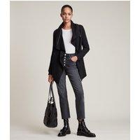 AllSaints Women's Cotton Relaxed Fit Dahlia Sweatshirt, Black, Size: L
