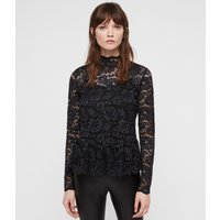 AllSaints Women's Slim Fit Ellen Lace Top, Blue, Size: UK 6/US 2