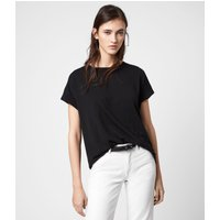AllSaints Women's Cotton Lightweight Imogen Boy T-Shirt, Black, Size: M/L