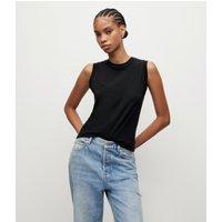 AllSaints Women's Cotton Lightweight Imogen Tank, Black, Size: L