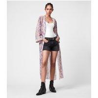AllSaints Women's Snake Print Regular Fit Carine Masala Kimono, Pink, Size: S