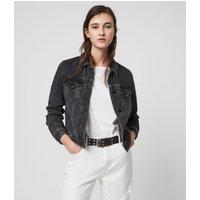AllSaints Women's Cotton Slim Fit Hay Denim Jacket, Black, Size: XS