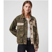 AllSaints Women's Cotton Relaxed Fit Finch Camo Jacket, Green, Size: M
