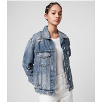 AllSaints Women's Cotton Lightweight Mila Denim Jacket, Blue, Size: XS