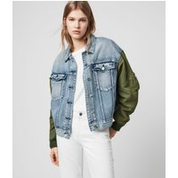 AllSaints Women's Cotton Relaxed Fit Frankie Denim Bomber Jacket, Blue, Size: XS