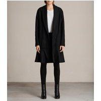 AllSaints Women's Wool Relaxed Fit Grace Ruffle Coat, Black, Size: S