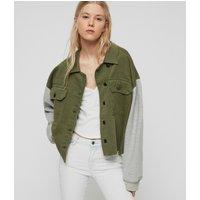 AllSaints Women's Cotton Morten Denim Jacket, Green and Grey, Size: XS/S