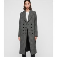 AllSaints Women's Check Slim Fit Blair Coat, Black, Size: 6
