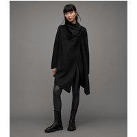 AllSaints Women's Regular Fit Wool Monument Eve Coat, Black, Size: 4