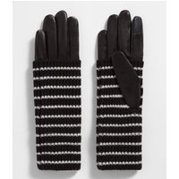 AllSaints Stripe Knit Cuff Leather Gloves