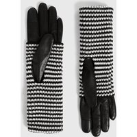 AllSaints Women's Goat Leather Stripe Cuff Gloves, Black and White, Size: XS