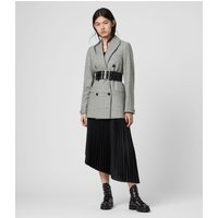 AllSaints Women's Wool Versatile Astrid Check Blazer, Grey, Size: 10
