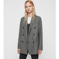 AllSaints Women's Wool Regular Fit Astrid Puppytooth Blazer, Black and White, Size: 14