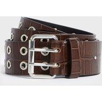AllSaints Andree Crocodile Leather Belt
