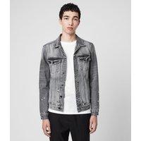 AllSaints Men's Cotton Lightweight Bilton Denim Jacket, Black, Size: L