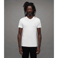 AllSaints Men's Cotton Lightweight Tonic V-Neck T-Shirt, White, Size: L