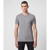 AllSaints Men's Cotton Lightweight Tonic V-Neck T-Shirt, Grey, Size: S