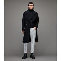 AllSaints Men's Cotton Lightweight Parlour Roll Neck Top, Black, Size: XL