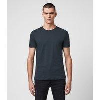 AllSaints Men's Cotton Regular Fit Figure Crew T-Shirt, Blue, Size: XXL