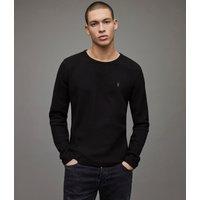 AllSaints Men's Cotton Regular Fit Muse Long Sleeve Crew T-Shirt, Black, Size: XS