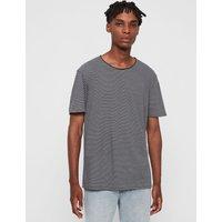 AllSaints Men's Cotton Stripe Regular Fit Elliot Crew T-Shirt, Black and White, Size: XL