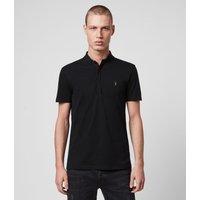 AllSaints Men's Cotton Lightweight Grail Short Sleeve Polo Shirt, Black, Size: M