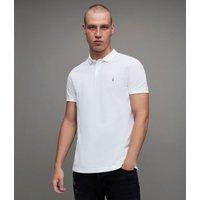 AllSaints Men's Cotton Slim Fit Reform Short Sleeve Polo Shirt, White, Size: M