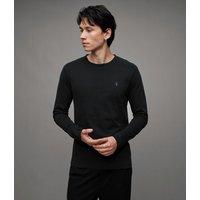AllSaints Men's Cotton Regular Fit Brace Long Sleeve Tonic Crew T-Shirt, Black, Size: XL