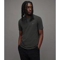 AllSaints Men's Cotton Slim Fit Brace Tonic Short Sleeve Crew T-Shirt, Dark Grey, Size: XS