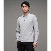 AllSaints Men's Cotton Slim Fit Reform Long Sleeve Polo Shirt, Grey, Size: L