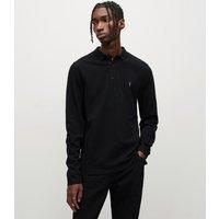 AllSaints Men's Cotton Slim Fit Reform Long Sleeve Polo Shirt, Black, Size: XS