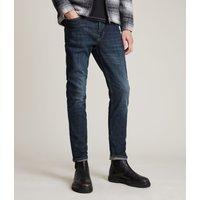 AllSaints Men's Leather Traditional Rex Slim Jeans, Blue, Size: 30