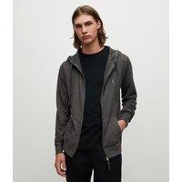 AllSaints Men's Cotton Regular Fit Brace Hoodie, Dark Grey, Size: XS